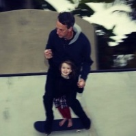 tony hawk daughter riding and smiling