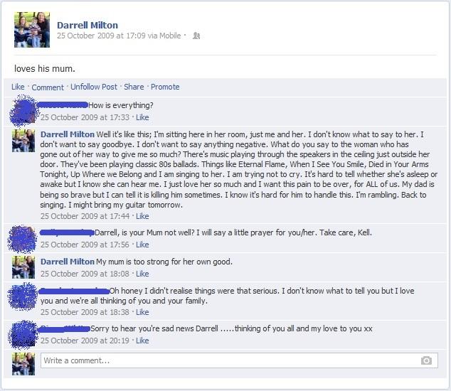Mum dying Facebook status Number 1