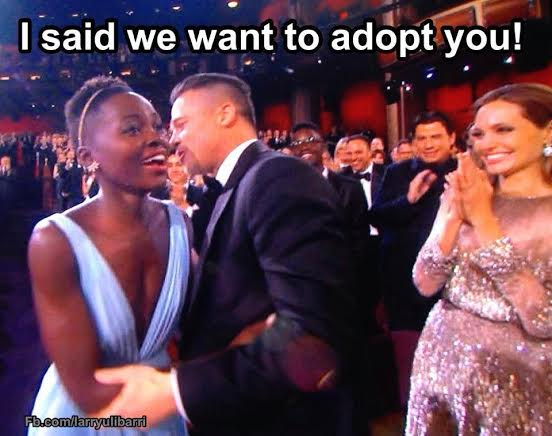 Brad Pitt Whispering In The Ear Of Lupita Nyong'o At The Oscars Meme