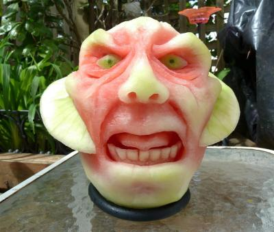 scary watermelon carving