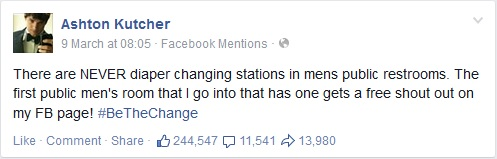 Ashton Kutcher Facebook Diaper Changing Stations