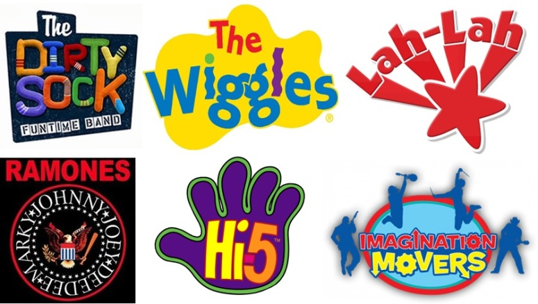 wiggles logo ramones logo dirty sock funtime band logo hi-5 band logo imagination movers logo lah-lah's big live band logo