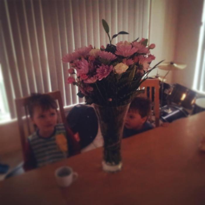"The flowers Cadel claims he ""chose"" for Gen. At 7am this morning I lined up by myself with about a dozen other fathers getting to flowers for their wives. I was going to take Keanu but he actually slept in this morning."