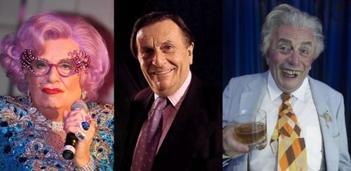 Barry Humphries sits between his alter ego characters of Dame Edna and Sir Les.