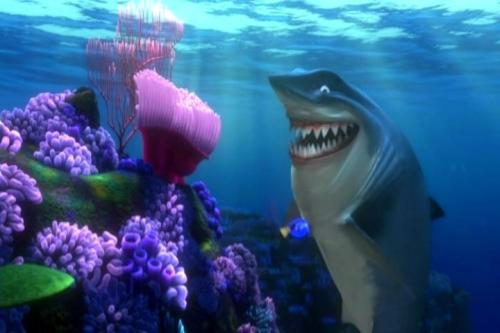 Dory with Bruce in a hidden scene on the DVD of Finding Nemo