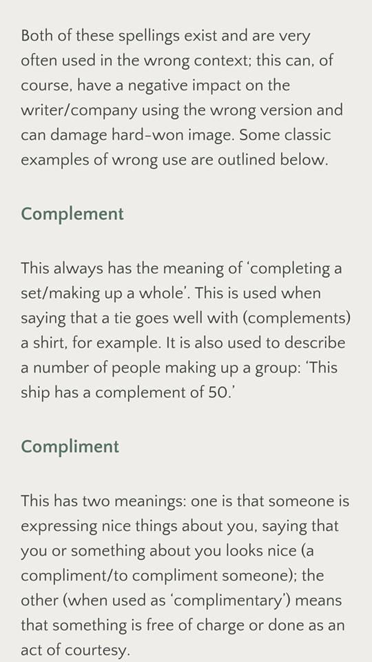 complement vs compliment
