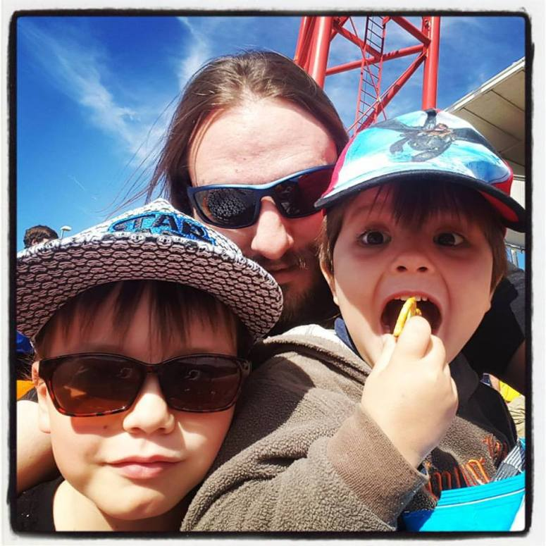 Daddy and the boys at the footy.