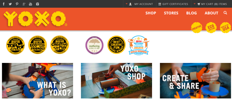 A screenshot of the YOXO.com website.