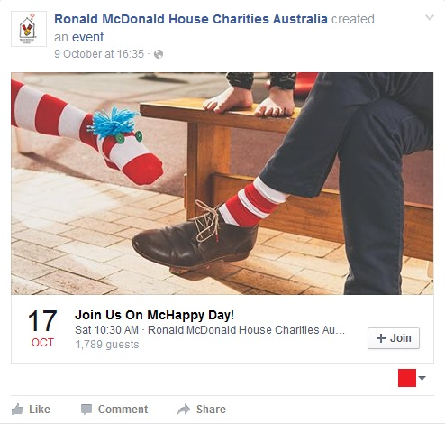 Click on the image to visit the Ronald McDonal House Charities Facebook page and save the event as a reminder.
