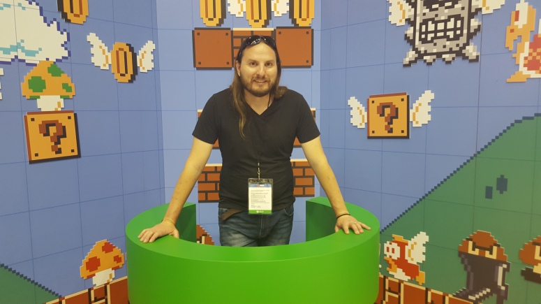 This is me in the Super Mario Maker pipes on the Nintendo stand at a recent gaming exhibition.