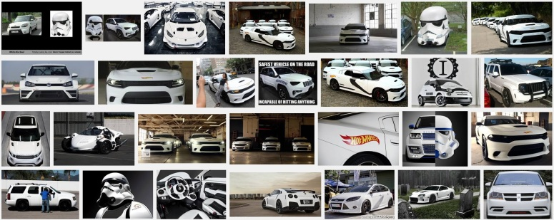 "Some of the results from searching for ""cars that look like Stormtroopers"""