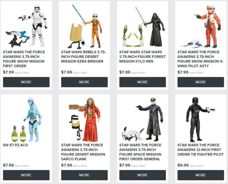 Star Wars figures with their American RRP price