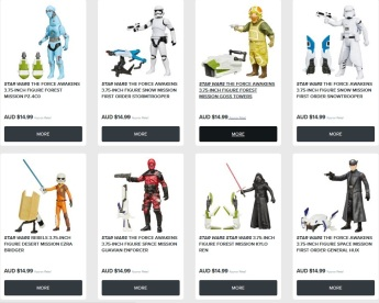 Star Wars figures with their Australian RRP price