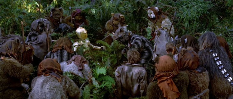 surrounded by ewoks