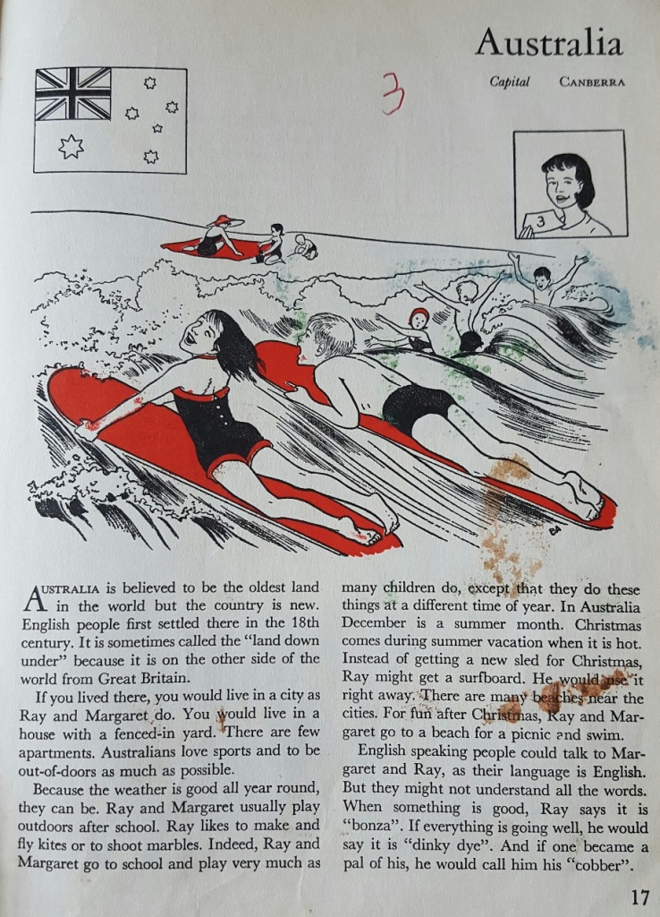 The page about Australia from the 1955 book, Fun Around the World