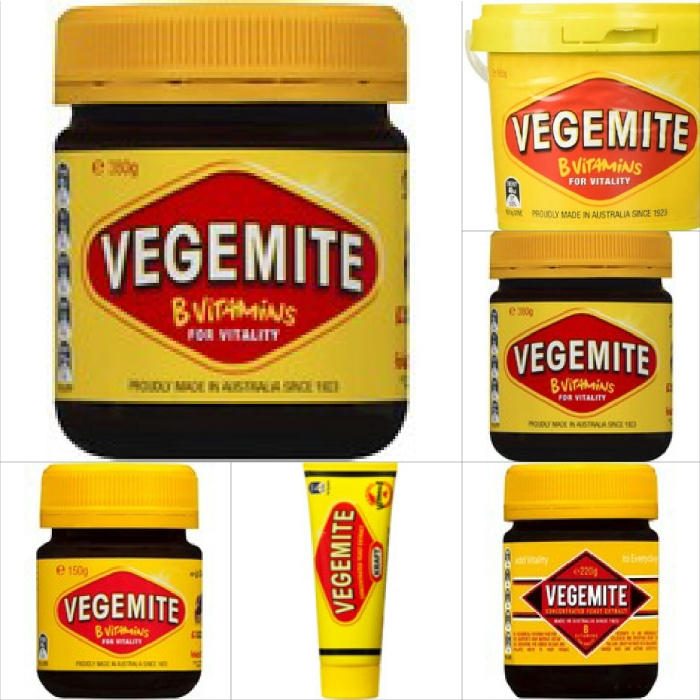 The many sizes of Vegemite jars, tubes and tubs. Yes, I said tubs.