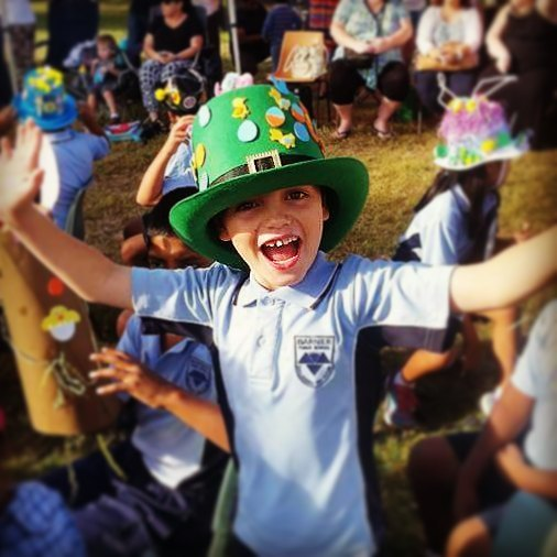 That's my boy. St Patrick's Day hat dressed up to be an Easter Hat. We have all the bases covered for celebrating traditions whether they are secular, non-secular, national, or of other nations and cultures.
