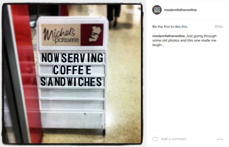 A comma would have been good, but coffee sandwiches might be a hit as well...