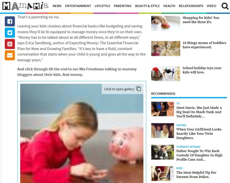 Mia Freedman talking to mummy bloggers about their kids. And money. Screen shot from this page.