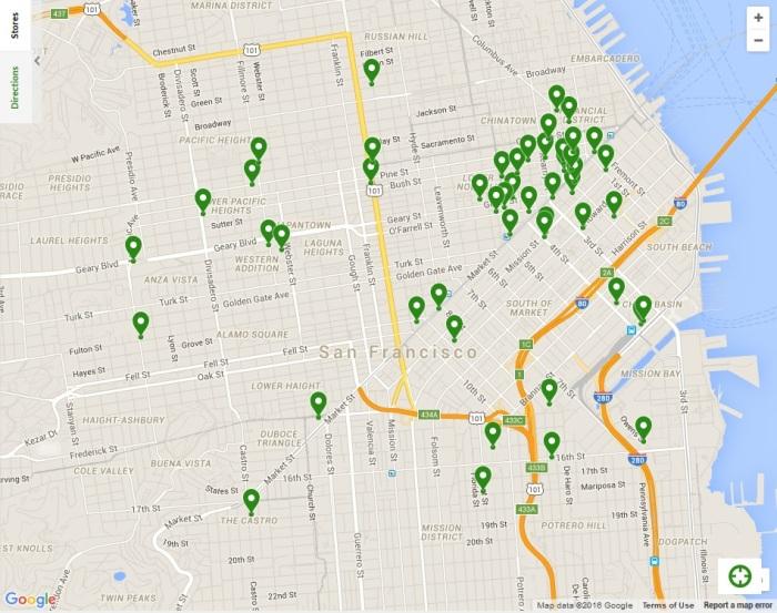 Starbucks locations in San Francisco as of June 2016. Source: Starbucks website.