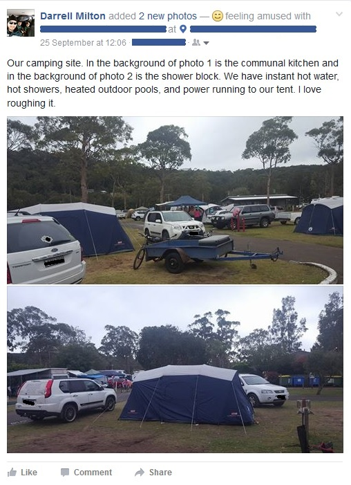Our camping site. In the background of photo 1 is the communal kitchen and in the background of photo 2 is the shower block. We have instant hot water, hot showers, heated outdoor pools, and power running to our tent. I love roughing it.