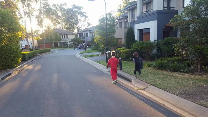 Our boys had been trick or treating for about 10 minutes when we spotted a bigger group to merge with.